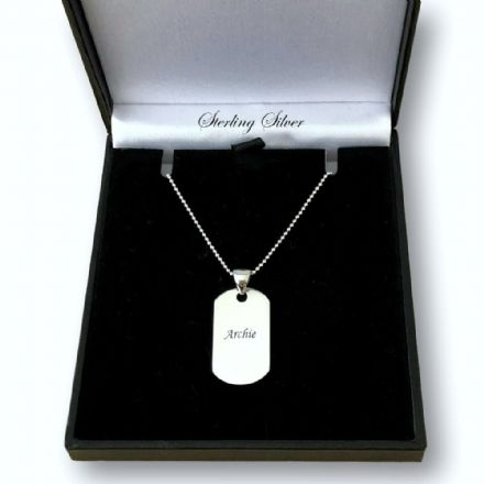 Engraved Sterling Silver Dogtag Necklace